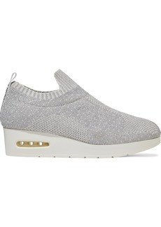 Dkny Woman Angie Metallic Stretch-knit Wedge Slip-on Sneakers Silver