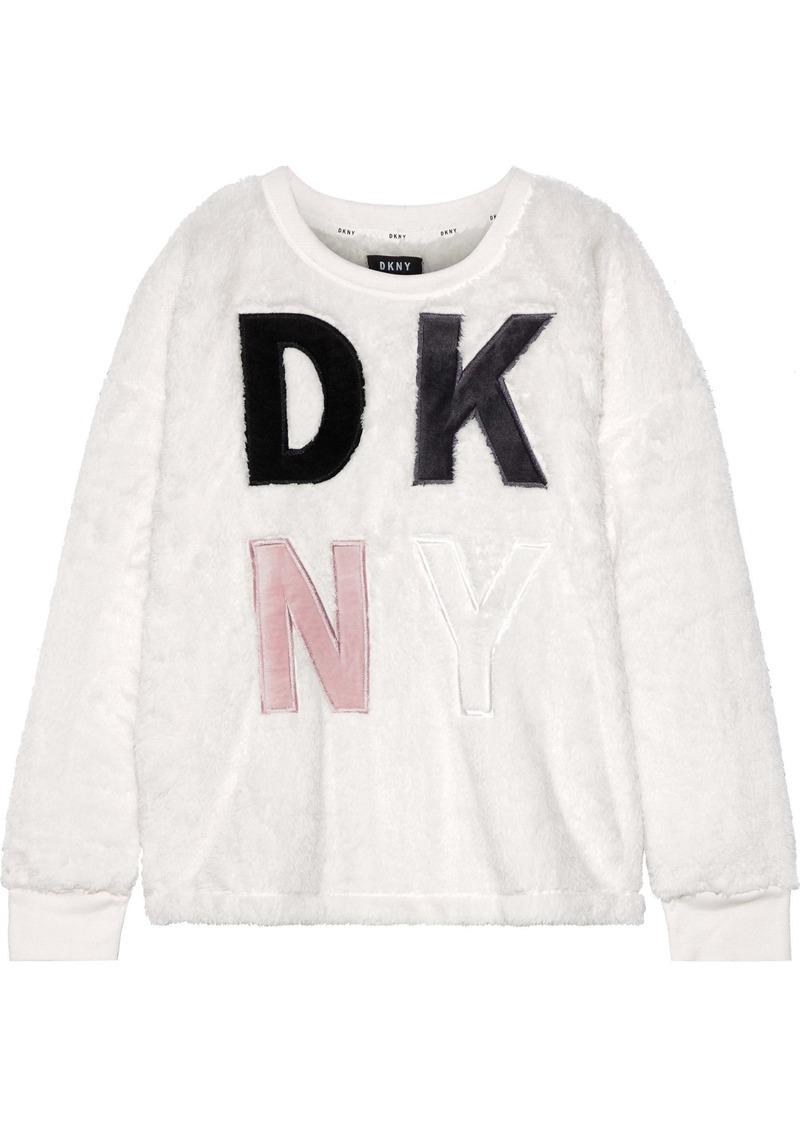 Dkny Woman Appliquéd Fleece Pajama Top White