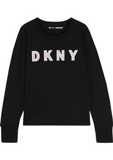 Dkny Woman Appliquéd French Cotton-blend Terry Sweatshirt Black