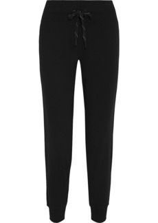 Dkny Woman Appliquéd French Cotton-blend Terry Track Pants Black