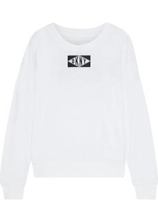 Dkny Woman Appliquéd Logo-print Stretch-cotton And Modal-blend Jersey Top White