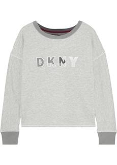 Dkny Woman Appliquéd Mélange Jersey Pajama Top Gray