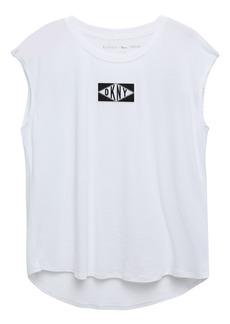 Dkny Woman Appliquéd Printed Cotton-jersey T-shirt White