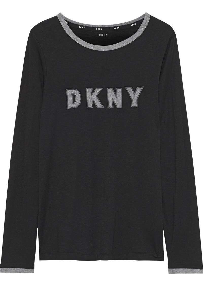 Dkny Woman Appliquéd Stretch-jersey Pajama Top Black