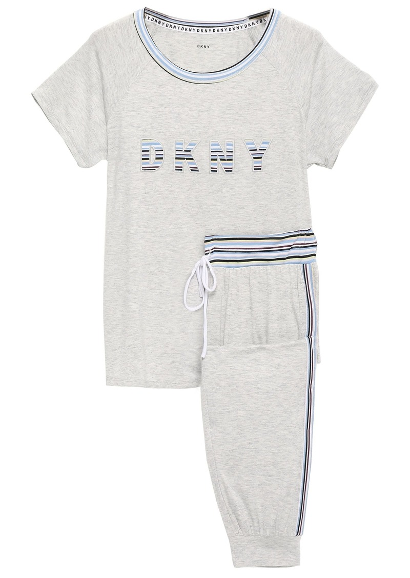 Dkny Woman Appliquéd Striped Stretch-jersey Pajama Set Light Gray