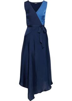 Dkny Woman Asymmetric Two-tone Crinkled Satin-twill Midi Dress Midnight Blue