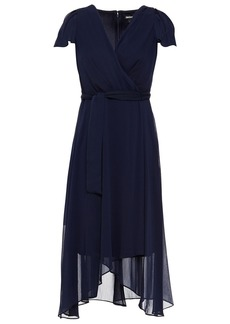 Dkny Woman Asymmetric Wrap-effect Georgette Midi Dress Midnight Blue