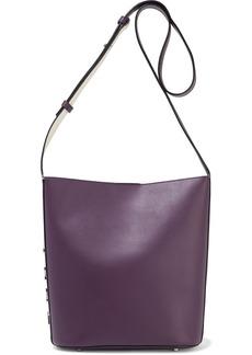 Dkny Woman Bedford Medium Logo-appliquéd Leather Bucket Bag Grape