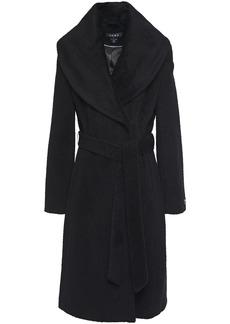 Dkny Woman Belted Brushed Wool-blend Felt Coat Black