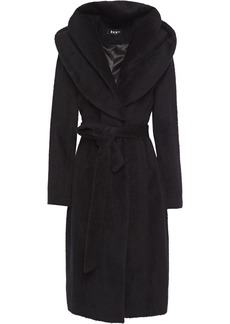 Dkny Woman Belted Brushed Wool-blend Hooded Coat Black