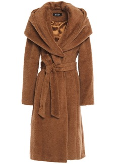 Dkny Woman Belted Brushed Wool-blend Hooded Coat Light Brown