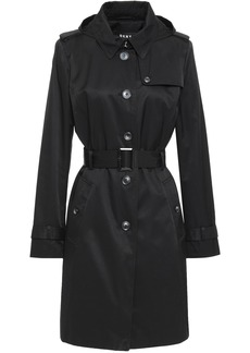 Dkny Woman Belted Cotton-blend Gabardine Hooded Trench Coat Black