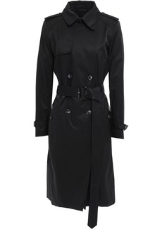 Dkny Woman Belted Cotton-blend Gabardine Trench Coat Black
