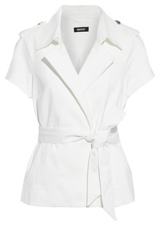 Dkny Woman Belted Cotton-blend Jacket Ivory
