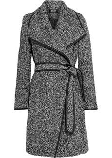 Dkny Woman Belted Faux Leather-trimmed Bouclé Coat Black