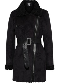 Dkny Woman Belted Faux Shearling Coat Black