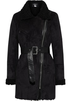 Dkny Woman Belted Faux Shearling Coat Black