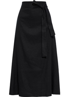 Dkny Woman Belted Linen-blend Midi Skirt Black