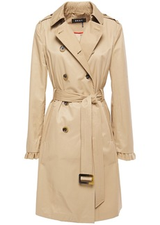 Dkny Woman Belted Ruffle-trimmed Cotton-blend Shell Trench Coat Sand