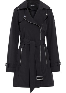Dkny Woman Belted Shell Hooded Trench Coat Black