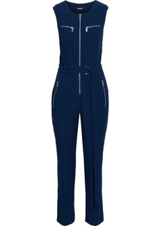 Dkny Woman Belted Zip-detailed Crepe Jumpsuit Navy