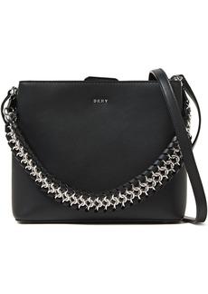 Dkny Woman Bethune Chain-trimmed Leather Shoulder Bag Black