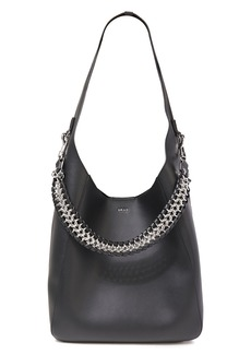 Dkny Woman Bethune Chain-detailed Leather Shoulder Bag Black