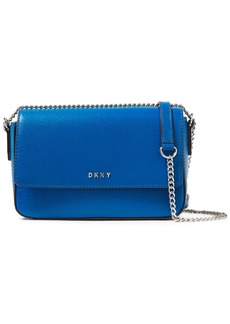 Dkny Woman Bryant Textured-leather Shoulder Bag Blue