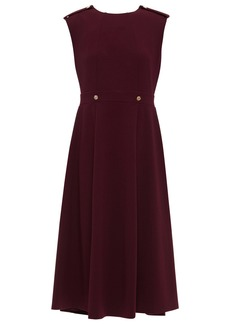 Dkny Woman Button-embellished Stretch-crepe Midi Dress Merlot