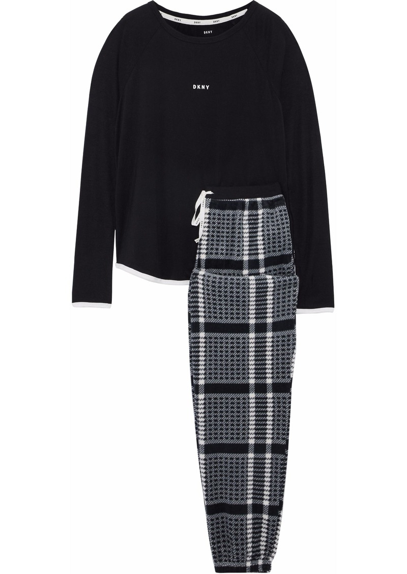 Dkny Woman Checked Flannel Pajama Set Black