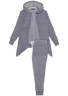 Dkny Woman Fleece Hooded Pajama Set Gray