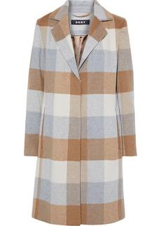 Dkny Woman Checked Wool-blend Felt Coat Sand