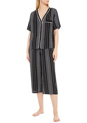 Dkny Woman Color Theory Cropped Logo-print Crepe De Chine Pajama Set Black