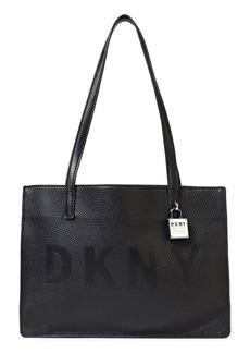Dkny Woman Commuter Medium Embossed Pebbled-leather Tote Black