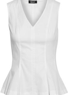 Dkny Woman Cotton-blend Poplin Peplum Top White