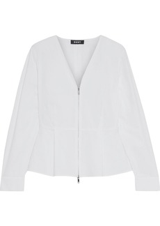 Dkny Woman Cotton-blend Poplin Peplum Top White
