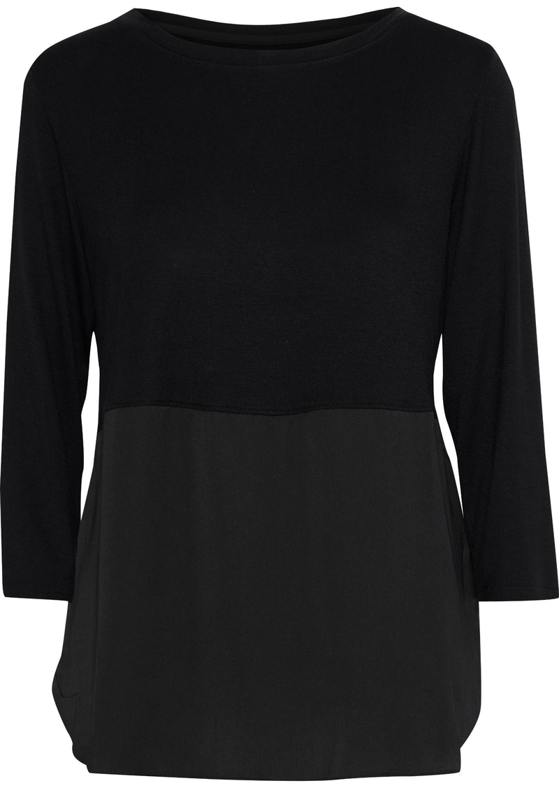Dkny Woman Crepe De Chine-paneled Jersey Pajama Top Black