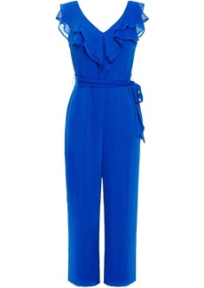 Dkny Woman Cropped Belted Ruffled Crepon Jumpsuit Bright Blue