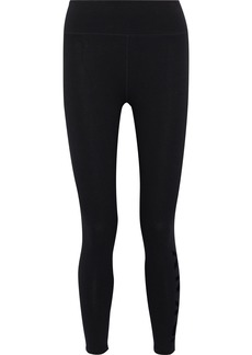 Dkny Woman Cropped Flocked Stretch-cotton Leggings Black