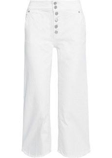 Dkny Woman Cropped Frayed Mid-rise Wide-leg Jeans White