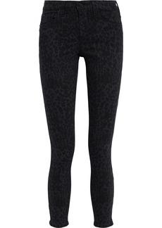 Dkny Woman Cropped Leopard-print High-rise Skinny Jeans Black