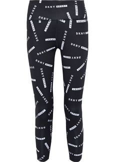 Dkny Woman Cropped Logo-print Stretch Leggings Black