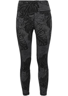 Dkny Woman Cropped Mesh-trimmed Printed Stretch Leggings Black