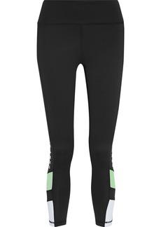 Dkny Woman Cropped Printed Stretch Leggings Black