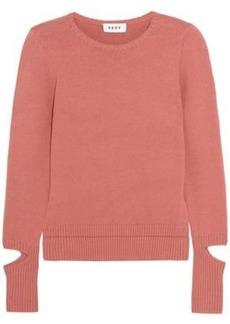 Dkny Woman Cutout Cotton-blend Sweater Antique Rose