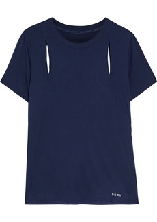 Dkny Woman Cutout Stretch-jersey T-shirt Navy