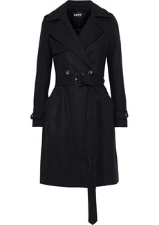Dkny Woman Double-breasted Belted Wool-blend Felt Coat Black