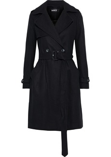 Dkny Woman Double-breasted Belted Wool-blend Felt Coat Black
