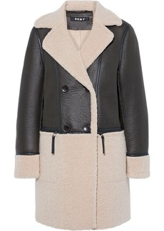 Dkny Woman Double-breasted Paneled Faux Shearling Coat Dark Brown
