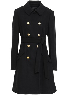 Dkny Woman Double-breasted Belted Felt Coat Black